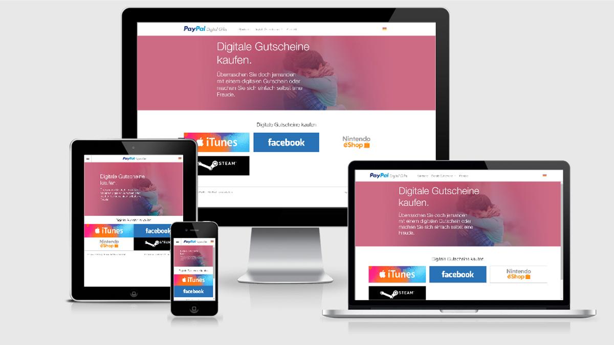 Digitale Gutscheinkarten im digitalen Geschenk-Shop von PayPal